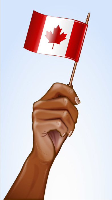Happy Canada Day Hand Waving Canadian Flag