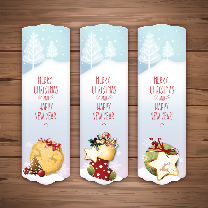 Three Christmas Banners with Merry Christmas Notes