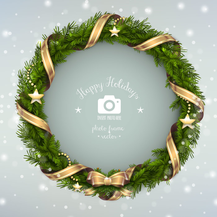 Christmas Wreath with Ribbons and a Bow Photo Frame